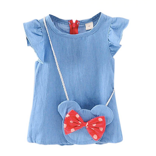 Baby Girls Denim Dress with Bowknot Accessories Kids Bowknot Sleeveless Toddler