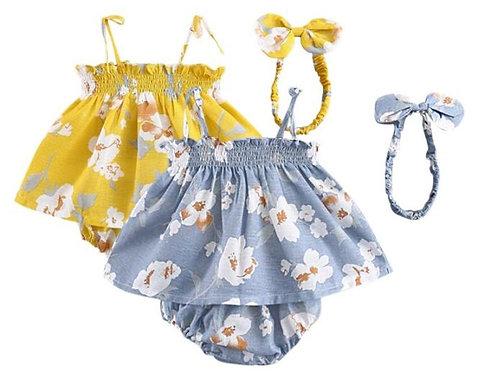 Baby Girl Outfits Set Flower Printed Sleeveless Top T-shirt+Shorts+Headband 3 Pc