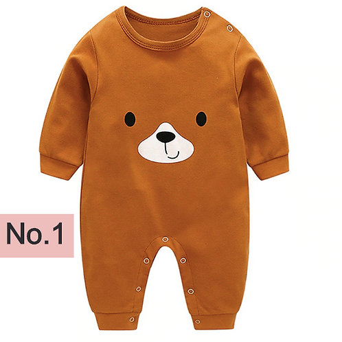Baby Infant Rompers Baby Long-Sleeved Rompers Cartoon Infant Jumpsuit