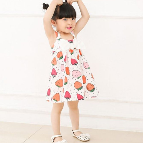 Baby Girl bowknot Dress For Girls Clothes Fruit Printed Princess Sleeveless