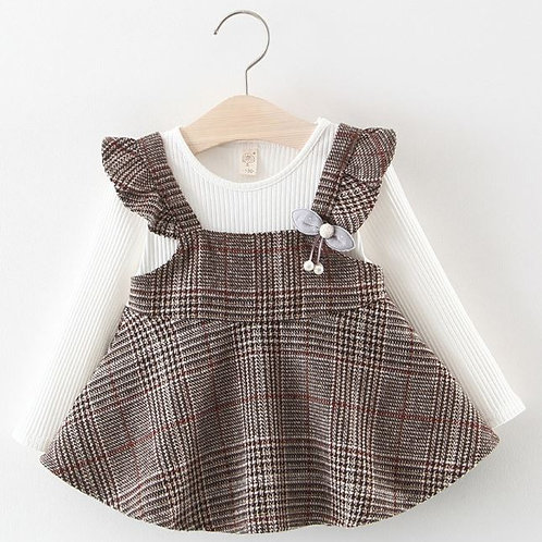 Toddler Baby Girls Ruched Ruffles Striped Plaid Dresses Casual Clothes