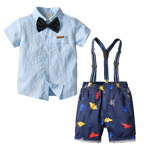 Toddler Baby Boys Clothing Sets Short Sleeve Bow Tie Shirt+Suspenders