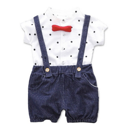 Baby Clothes Summer Baby Boys Short Sleeve Polka Dot Print Tops Shirts+Strap Sho
