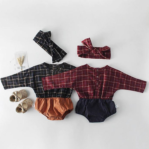 Baby Girls Rompers Newborn Baby Infant Plaid Long-Sleeved Rompers Jumpsuits