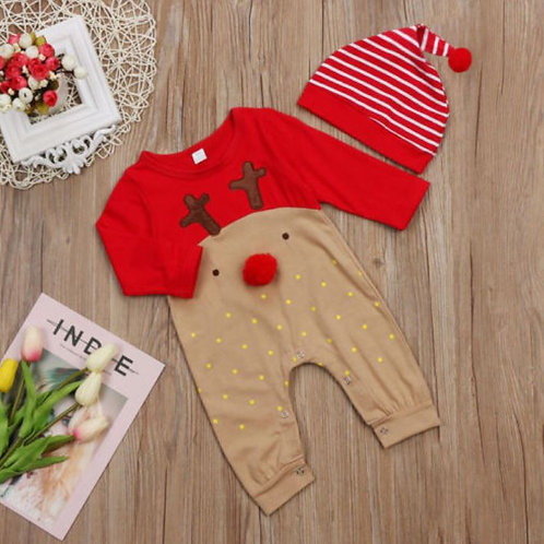 Christmas Reindeer Romper Jumpsuit Clothes Outfits Cartoon Long Sleeve +Knit Hat