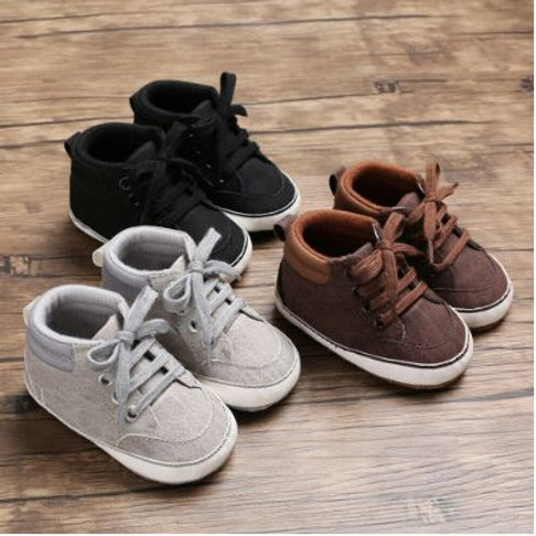 Lace Up Baby Shoes Sole Crib Shoes Anti-slip Sneakers Prewalker