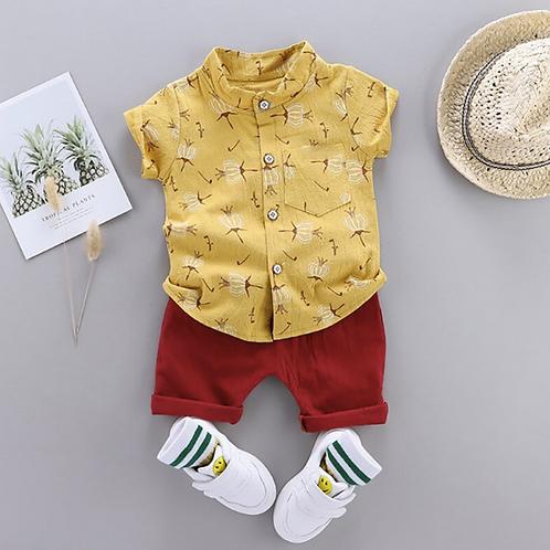 Summer Set Baby Boys Short Sleeve Floral Print shirt Tops+Shorts Costume Set