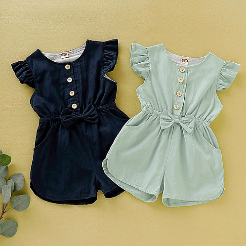Baby Girls Fly Sleeve Romper Lovely Print Bow Buttons Romper Jumpsuit