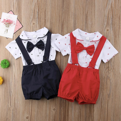 Baby Boy Clothes Set Print Bow Bodysuit Tops+Straps Shorts 2PCS Sets