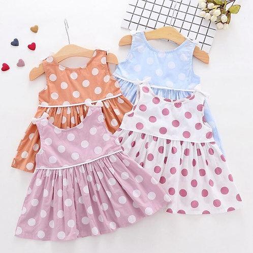 Baby Girls Dress Summer  Sleeveless Polka Dot Pattern Dress Toddler Sundress
