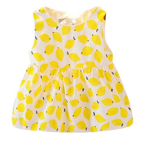 Summer Baby Girls Sleeveless Fruit Pattern Casual Cotton Dress Kids Toddler