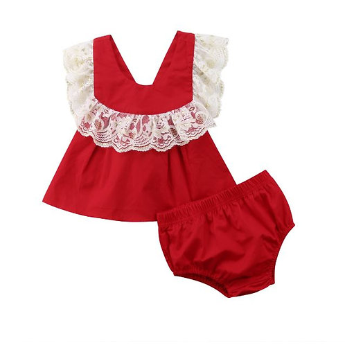 Toddler Baby Girl Outfits Set Clothes Floral Lace Sleeveless Casual Tops+ Shorts
