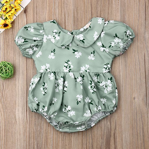 Baby Girl Doll Collar Floral Bodysuit Summer New Boho Green Holiday Jumpsuit