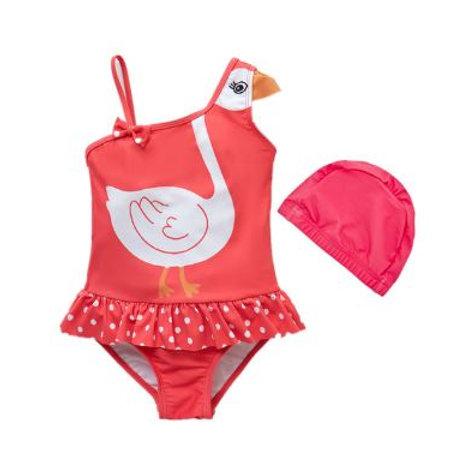 Baby Girl Swimwear with Swim Hats Cartoon Swimsuit Swimming Beach Bathing Bikini
