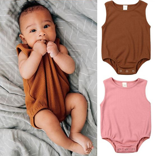 Newborn Kid Baby Solid Jumpsuit Crawling Suit Summer New Casual Sleeveless