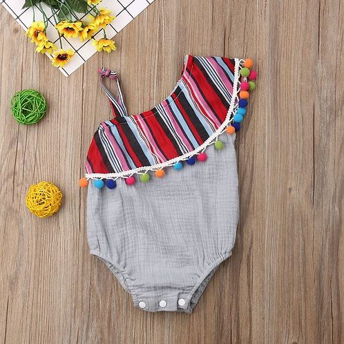 Baby Girl Off Shoulder Colorful Tassel One-Pieces Bodysuit Jumpsuit Outfit