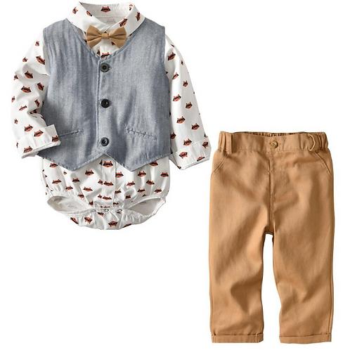 Baby Boys Sets Gentlemen Vest+Long Sleeve Shirt+Pants Children's Clothes