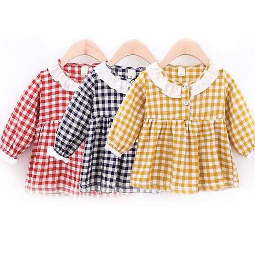 Toddler Baby Girl Plaid Dress Long Sleeve Princess Party Dresses Clothes Outfits