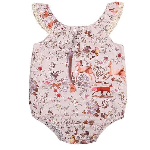 Summer Newborn Baby Girls Clothes Sleeveless Deer Print Bodysuit Sunsuit