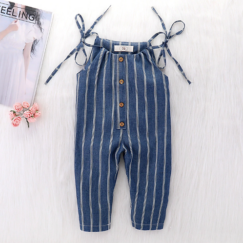 Baby Clothes Girls Summer Strap Overalls Stripes Print Toddler Navy Blue