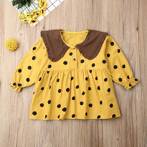 aby Girl Clothes Long Sleeve Polka Dot Dress Elegant Cute Party