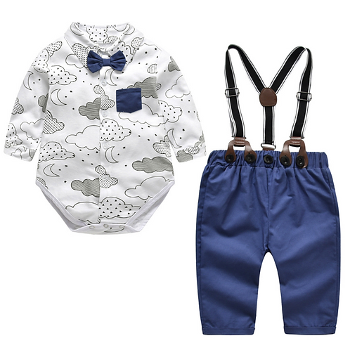 Baby Boys Sets Baby Long-sleeved Tops+Suspenders Pants