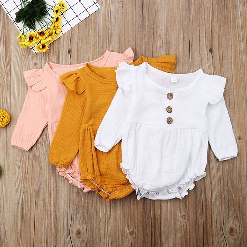 Cotton Baby Clothes Girl Toddler Loose Long Sleeve Baby Rompers Button Ruffles