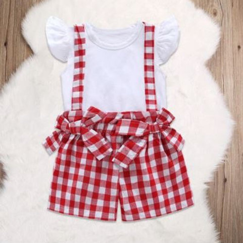 Toddler Baby Girl Clothes Sleeve T-shirt+Checked Overalls Bow Jumpsuit 2PCS set