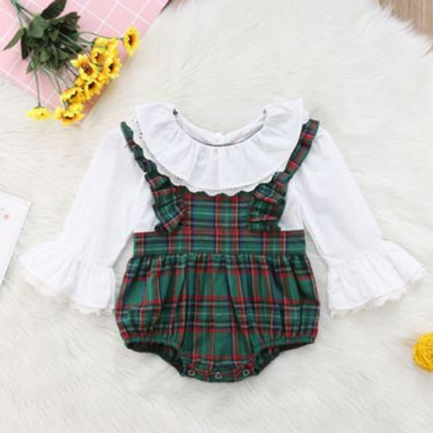 Plaid Baby Girl Clothes Ruffles Lace Long Flare Sleeve Floral Rompers