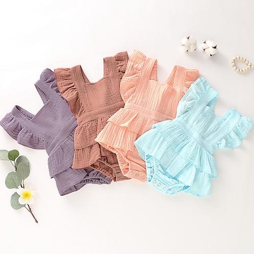 Baby Girl Clothes Sleeveless Ruffle Tutu Bodysuit Princess Cotton Linen Jumpsuit