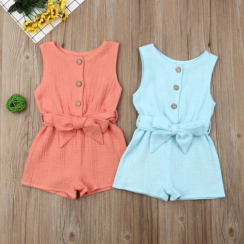 Baby Girl Clothes Cotton Blend Solid Sleeveless Romper Single Breasted Jumpsuit
