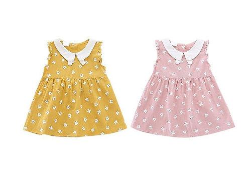 Kids Girl Sleeveless Dress 1-5 Years Summer Girls Prined Flower Cotton Dresses
