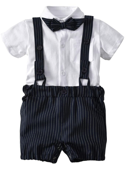 Baby Boys Sets Baby Short Sleeve Tops+Suspenders Shorts Pants 2PCS Sets