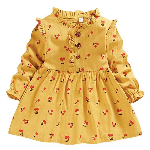 Autumn Casual Dress for Baby Girls Cherry Print Long Sleeve Dress Toddler