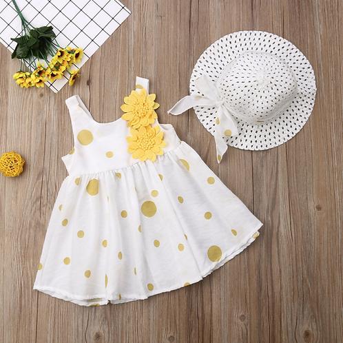 Toddler Girls Pageant Flower Dress Summer Princess Dot Tutu Dress+Sunhat 2PCS