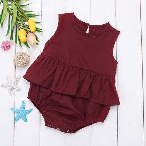 Newborn Infant Kids Baby Girl Red Sleeveless Bodysuit Outfits Siamese Clothing