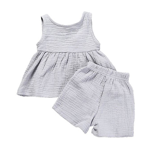 Summer Baby Girls Casual Sleeveless Solid Print Tops Vest+Shorts Suits Set