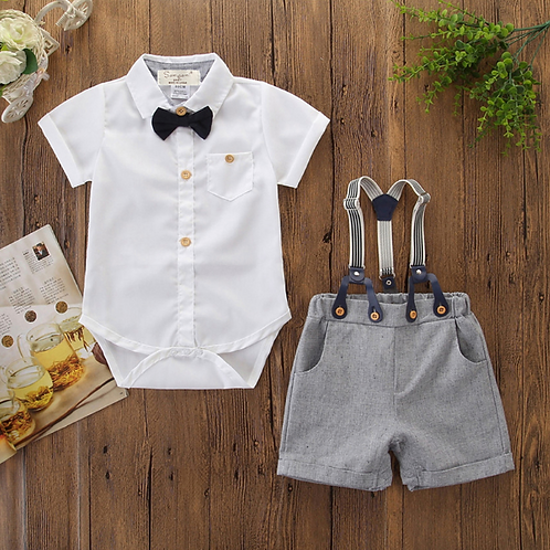 Baby Boy Gentleman Clothes set Summer Short Sleeve Shirt Romper