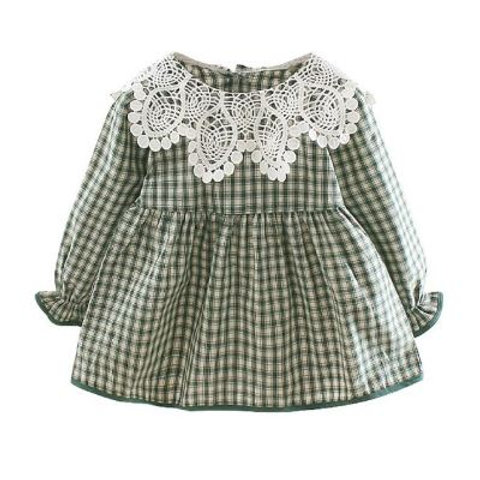 Autumn Baby Girls Plaid Print Long Sleeve Dress With Lace Design Kids Toddler
