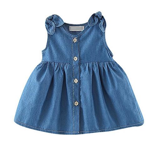 Summer Baby Girls Solid Pattern Casual Denim Dress Kids Toddler Princess Sundres