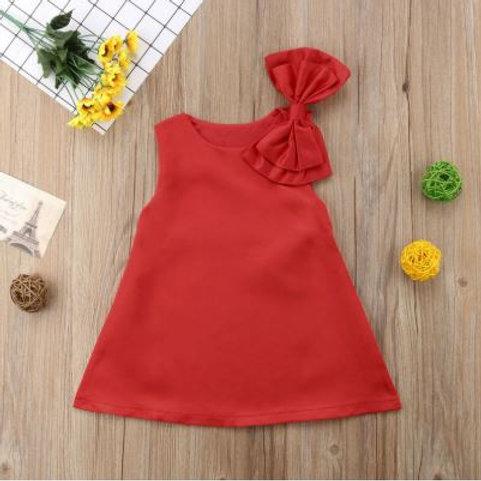 Summer Girls Dress Big Bow-knot Party Wedding Red Princess Dress Sleeveless