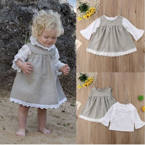 Autumn Baby Girl Dress Boutique Long Sleeve Cotton Two-Piece Outfit