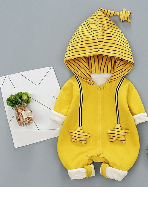Autumn Cotton Baby Romper Long Sleeve Kids Coverall Hooded Infant Jumpsuit