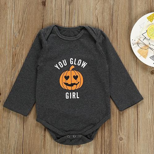 Long Sleeve Pumpkin Print Letter Halloween Bodysuit Cotton Infantil Clothing