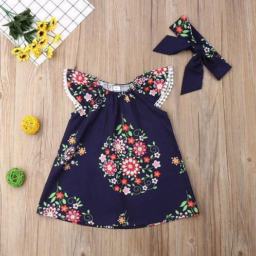 2PCS Baby Girls Dress Floral Sleeveless Tassel Pageant Party Princess Tutu Dress