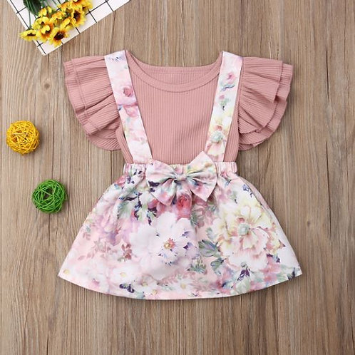 Toddler Baby Girl Clothes Butterfly Sleeve Tops Romper+Suspender Dress 2PCS Sets