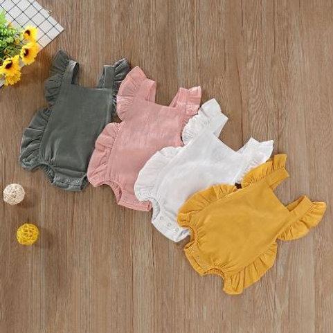 Summer Newborn Girls Solid Print Backless Jumpsuit Flare Sleeve Infant Bodysuit