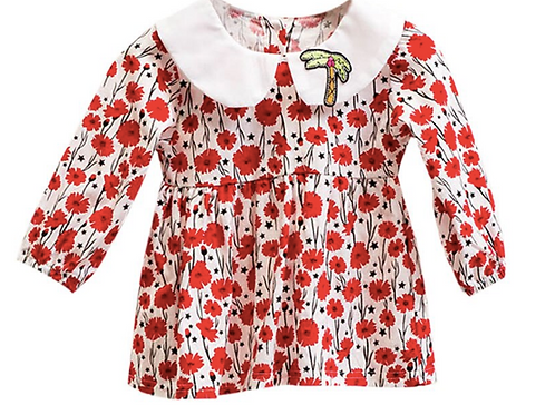 New Autumn Casual Baby Girls Floral Print Long Sleeve Toddler Pageant Dresses
