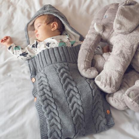 Baby Warm Blanket Sleeping Bag Cotton Swaddle Knitting Envelope 75*35cm