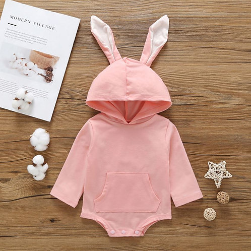 Easter Lovely Solid Bodysuit Bunny ears Hoodie Jumpsuit Spring Clothes Outfits